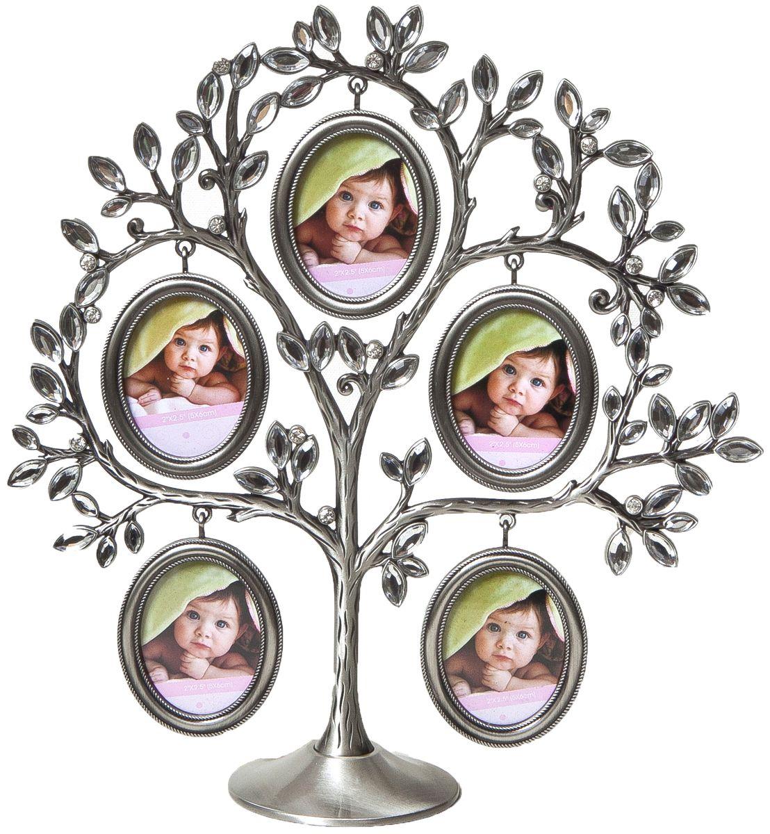 Фоторамка декоративная Platinum Дерево, на 5 фото, высота 27 см. PF10791B5 фоторамок на дереве PF10791BРодословное дерево инкрустированное стразами, с фото 3x4 см.