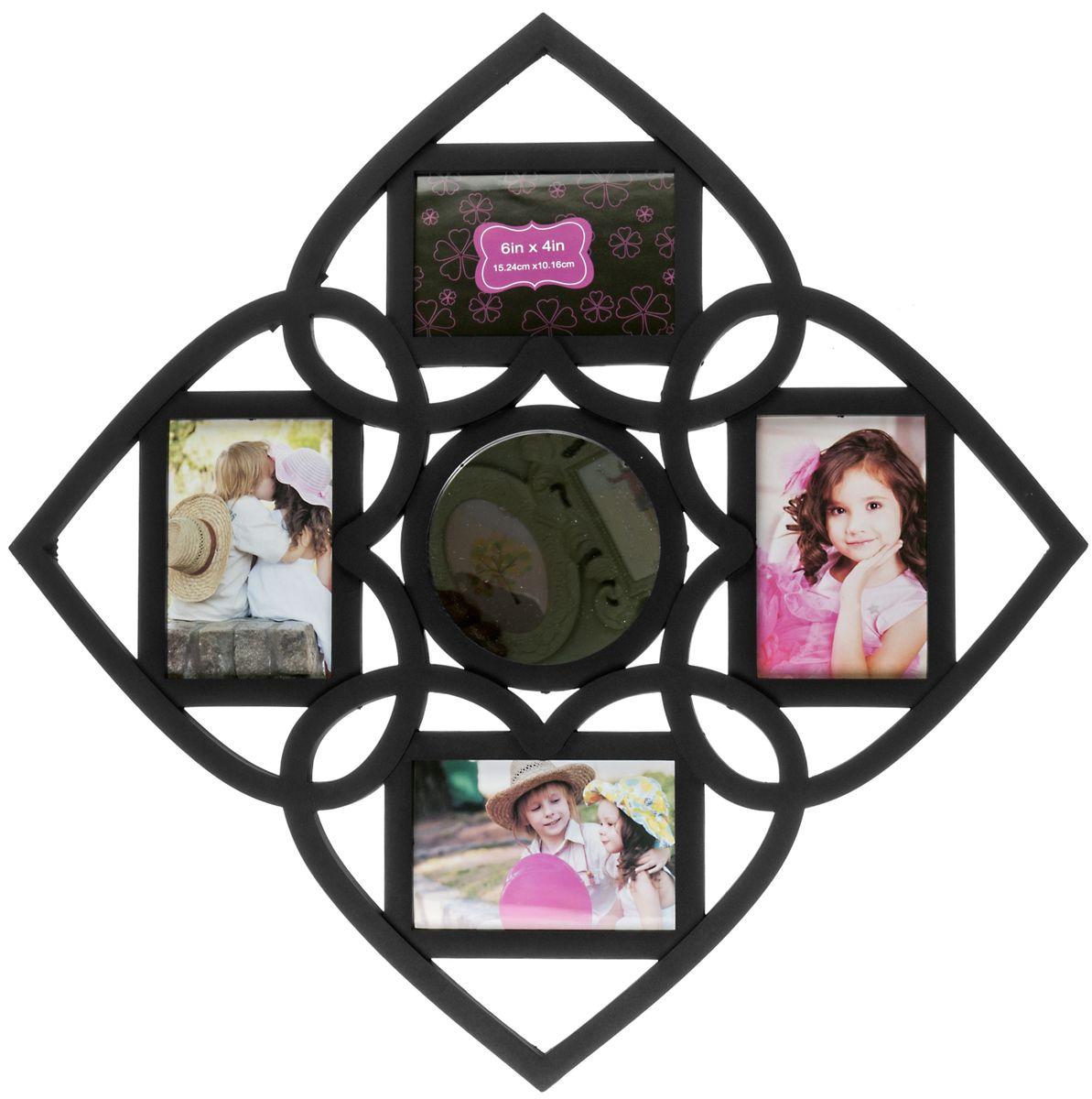 Фоторамка Platinum, с круглым зеркалом, цвет: черный, на 4 фотоBIN-1122552-Black-ЧёрныйФоторамка Platinum - прекрасный способ красиво оформить ваши фотографии. Фоторамка выполнена из пластика и защищена стеклом. Фоторамка-коллаж представляет собой четыре фоторамки для фото одного размера оригинально соединенных между собой. В центре фоторамки имеется круглое зеркало. Такая фоторамка поможет сохранить в памяти самые яркие моменты вашей жизни, а стильный дизайн сделает ее прекрасным дополнением интерьера комнаты. Фоторамка подходит для фотографий 10 х 15 см. Общий размер фоторамки: 59 х 59 см.
