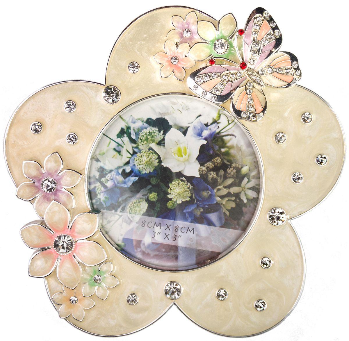 Фоторамка Platinum Цветы, цвет: розовый, 8 х 8 см. PF10562B-3PLATINUM PF10562B-3Декоративная фоторамка Platinum Цветы выполнена из металла в виде цветочка с бабочкой. Фоторамка украшена стразами и декоративной глазурью. Изысканная и эффектная, эта потрясающая рамочка покорит своей красотой и изумительным качеством исполнения. Фоторамка подходит для фотографий 8 х 8 см. Общий размер фоторамки: 13 х 1,5 х 13 см.