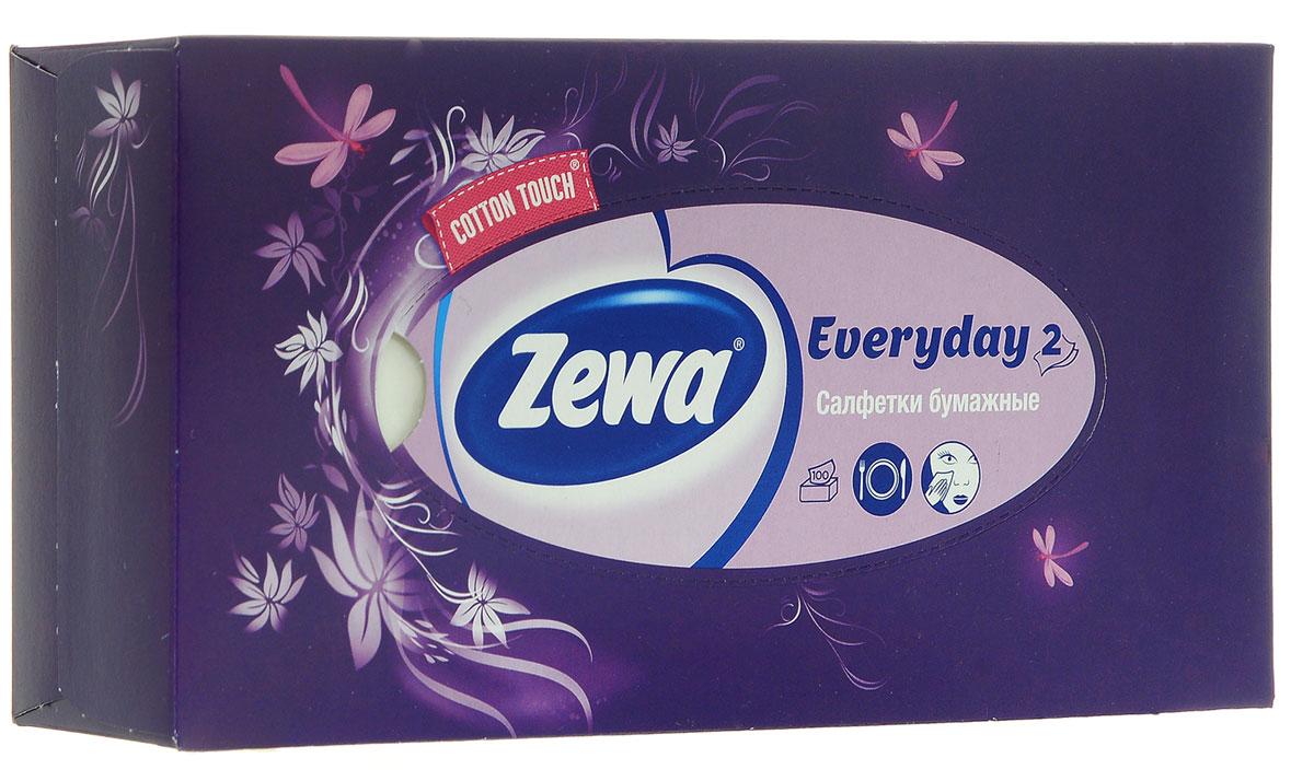 Zewa Платки косметические в коробке Everyday, двухслойные, цвет: фиолетовый, стрекозы, цветы, 100 шт140814757_фиолетовый/стрекозы, цветы
