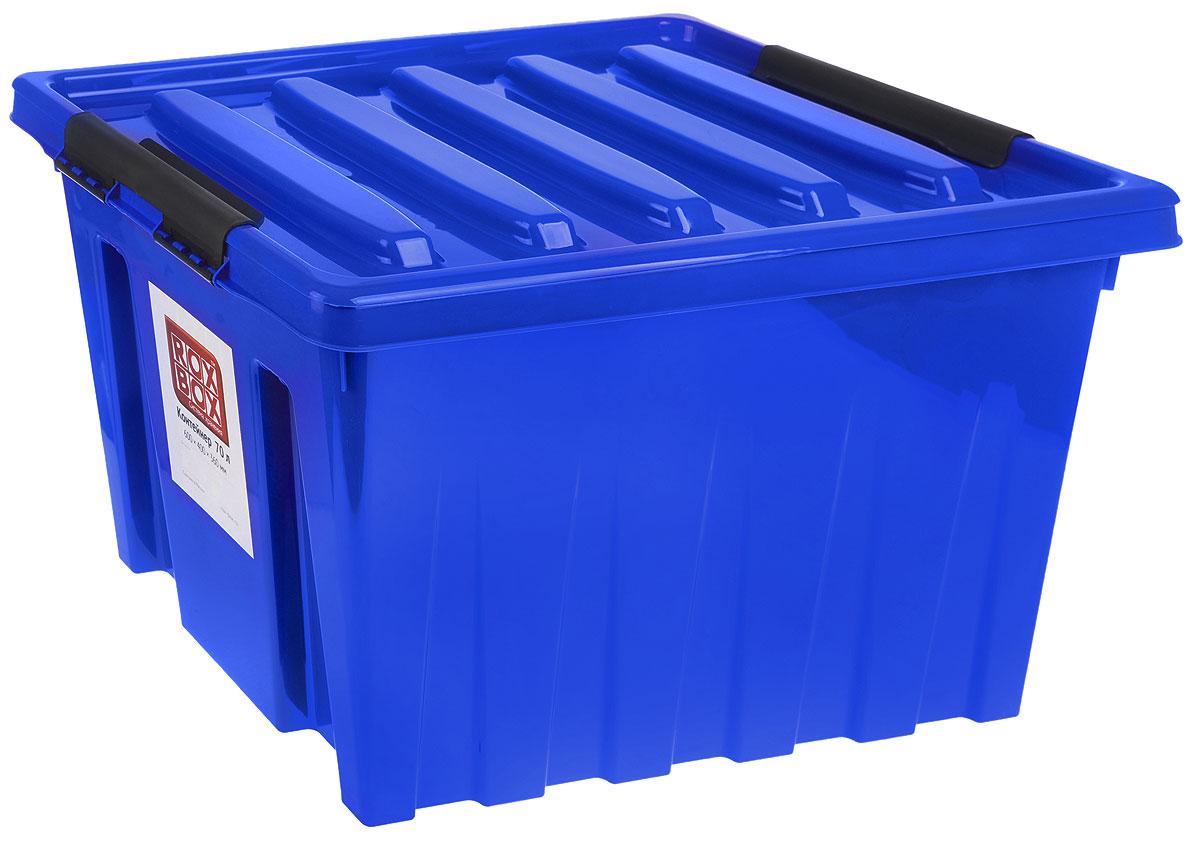 Контейнер для хранения Роксор, цвет: синий, черный, 50 л214506Контейнер Роксор выполнен из полипропилена, предназначен для хранения пищевых продуктов, инструментов, швейных принадлежностей, бумаг и многого другого. Универсальный контейнер для хранения с крышкой оснащен роликами и оригинальными ручками-фиксаторами, которые надежно и плотно удерживают крышку в закрытом положении. Толстые стенки и ребра жесткости придают ящикам особую прочность, уменьшая риск повреждения как самого ящика, так и его содержимого.
