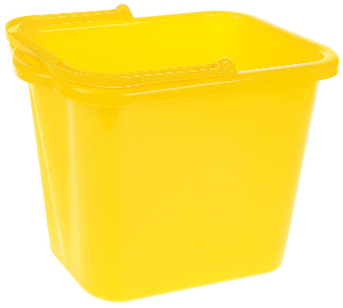 Ведро хозяйственное Idea, прямоугольное, цвет: желтый, 9,5 лМ 2420Прямоугольное ведро Idea изготовлено из прочного пластика. Изделие порадует практичных хозяек. Ведро можно использовать для пищевых продуктов или для мытья полов. Для удобного использования ведро имеет пластиковую ручку и носик для выливания воды. Размер ведра (по верхнему краю): 36 х 21,5 см. Высота стенки: 25 см.