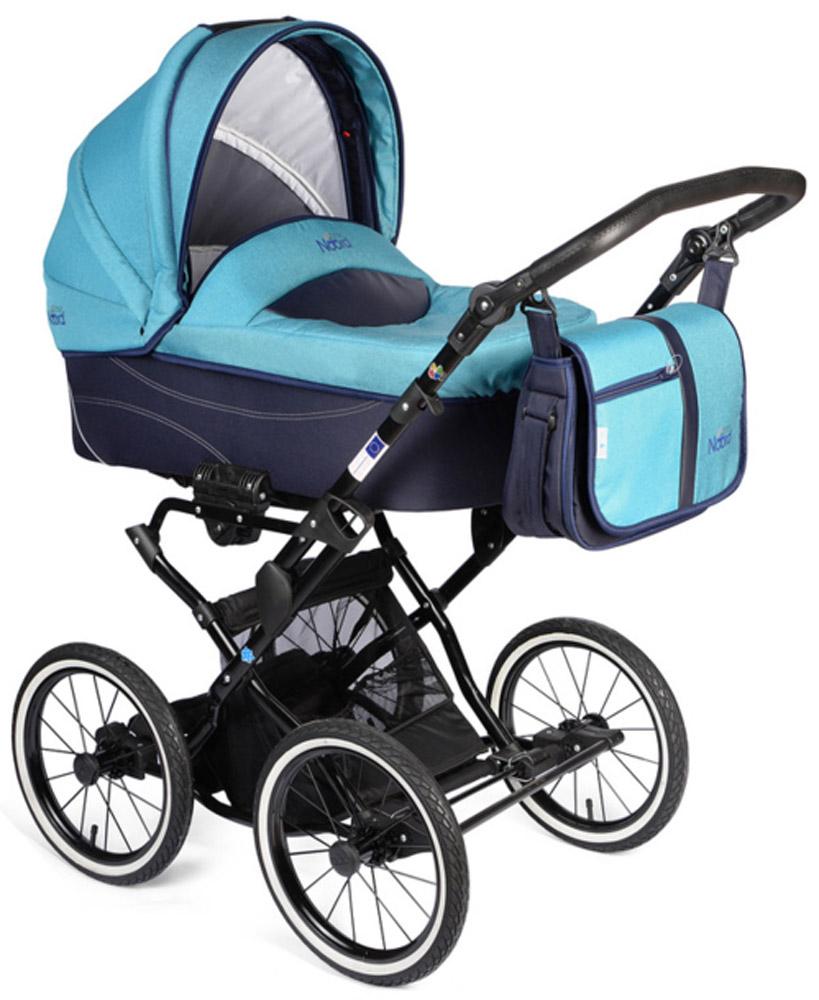 Noordline Коляска универсальная 2 в 1 Beatrice Classic цвет голубойNL-BR2-CL-AQМодель коляски на классическом шасси с ременной амортизацией - самой мягкой на сегодняшний день. Ремни позволяют раскачивать коляску в разных направлениях (вдоль и поперёк) и быстро укачивать малыша, что особенно важно для новорожденных. Этот всесезонный вездеход рекомендуется детям с рождения до 3 лет. Большие надувные колеса легко снимаются, как и люлька с сиденьем, если необходимо сложить шасси для дальнейшей транспортировки в багажнике либо в руке одного из родителей. Преимущества данной модели перед колясками другого производителя: Утепленный короб с деревянной вставкой для улучшения вентиляции под матрасиком и сохранения устойчивой плюсовой температуры внутри люльки в зимнее время. Надувные колеса-вездеходы, не требующие постоянной подкачки. Достаточно одного-двух раз в год проводить подкачку с помощью подручного насоса, включая велосипедный. Крепкая металлическая рама устойчива к химическим реагентам, которыми посыпаются городские улицы. Обивка...