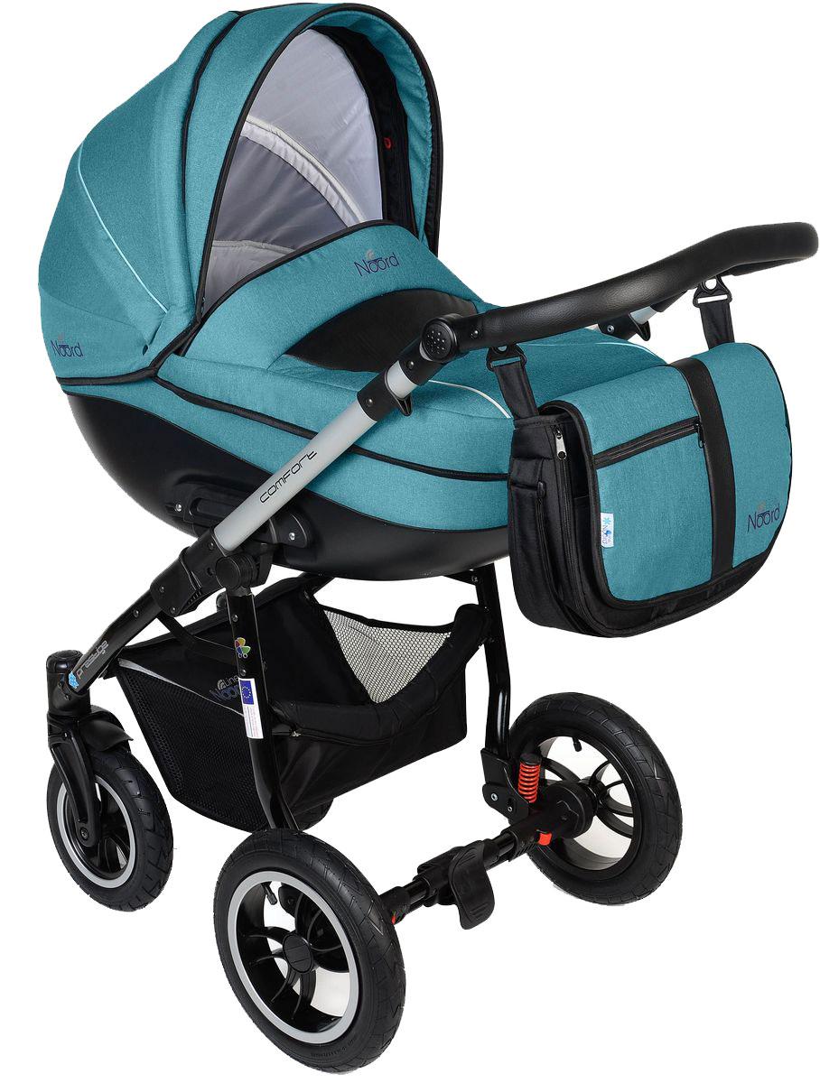 Noordline Коляска универсальная 2 в 1 Оlivia Alu цвет бирюзовыйNL-OL2-AQ-ALUДетская коляска Noordline 2 в 1 Olivia Alu подойдет для родителей, предпочитающих комфорт и практичность. Эта модель значительно отличается от коляски на классическом шасси своим спортивным видом, разными по размеру колесами, динамичным шасси. По сравнению с колясками, выпускаемыми годами ранее, она значительно легче в весе, более маневренная, с усовершенствованным тормозом, пружинной амортизацией и рамой-полуавтоматом, которая теперь быстрее складывается книжкой. Обивочный материал коляски: • имеет специальную пропитку против влаги; • не дает мелким снежинкам и пыли попасть сквозь капюшон внутрь люльки или сиденья; • не выцветает, не пачкает одежду, хорошо стирается руками и в машине; поддается химической чистке; • мягкий на ощупь; • не вызывает аллергических реакций; • после высыхания не образует разводов. Внутренняя обивка люльки: • произведена из тончайшего хлопчатобумажного текстиля светлых оттенков; • нежная, не...