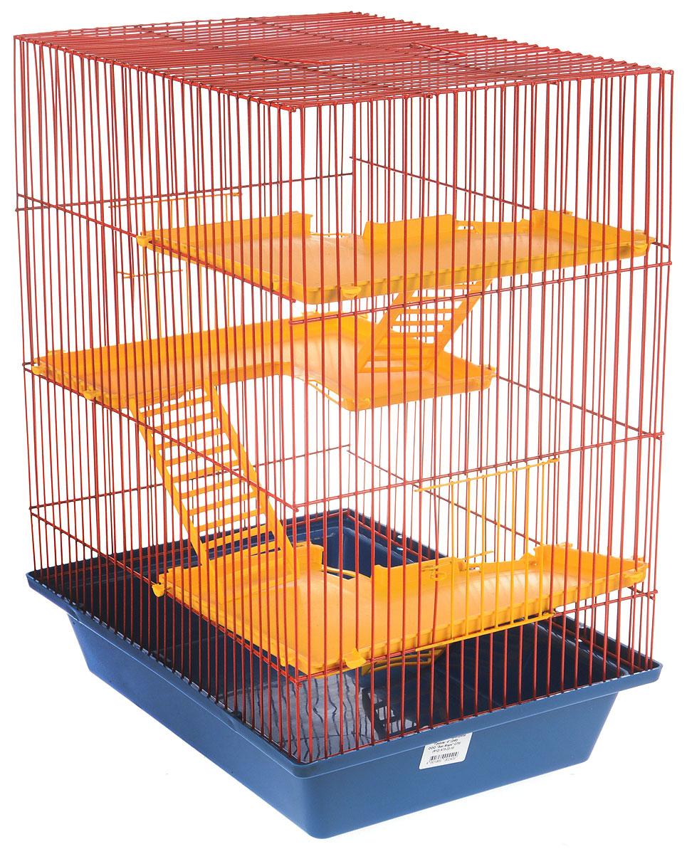 Клетка для грызунов ЗооМарк Гризли, 4-этажная, цвет: синий поддон, красная решетка, желтые этажи, 41 х 30 х 50 см240_синий, красный, желтыйКлетка ЗооМарк Гризли, выполненная из полипропилена и металла, подходит для мелких грызунов. Изделие четырехэтажное. Клетка имеет яркий поддон, удобна в использовании и легко чистится. Сверху имеется ручка для переноски. Такая клетка станет уединенным личным пространством и уютным домиком для маленького грызуна.