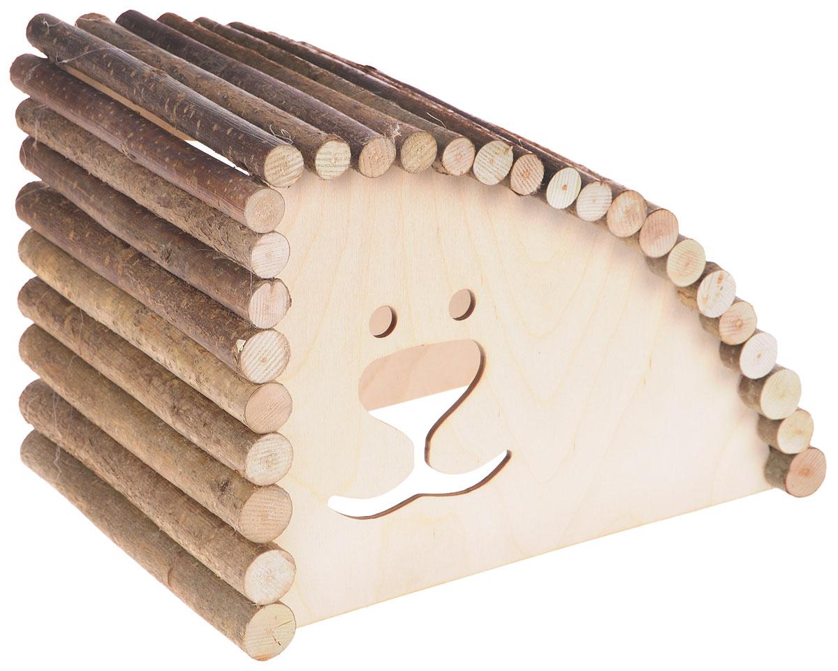 Домик для грызунов Zoobaloo Геркулес большой правый угол 29х20х20 см620Rредставляем вам комфортный деревянный домик, который послужит надежным укрытием вашему любимцу, а также идеальным местом для сна и отдыха! Домик весьма просторный, имеет оригинальную округлую крышу, изготовленную из прутьев орешника, и удобный вход. Этот аксессуар предоставит вашему любимцу минуты отдыха в течение дня. Домик позволит вашему грызуну ощутить максимальный комфорт и уют!
