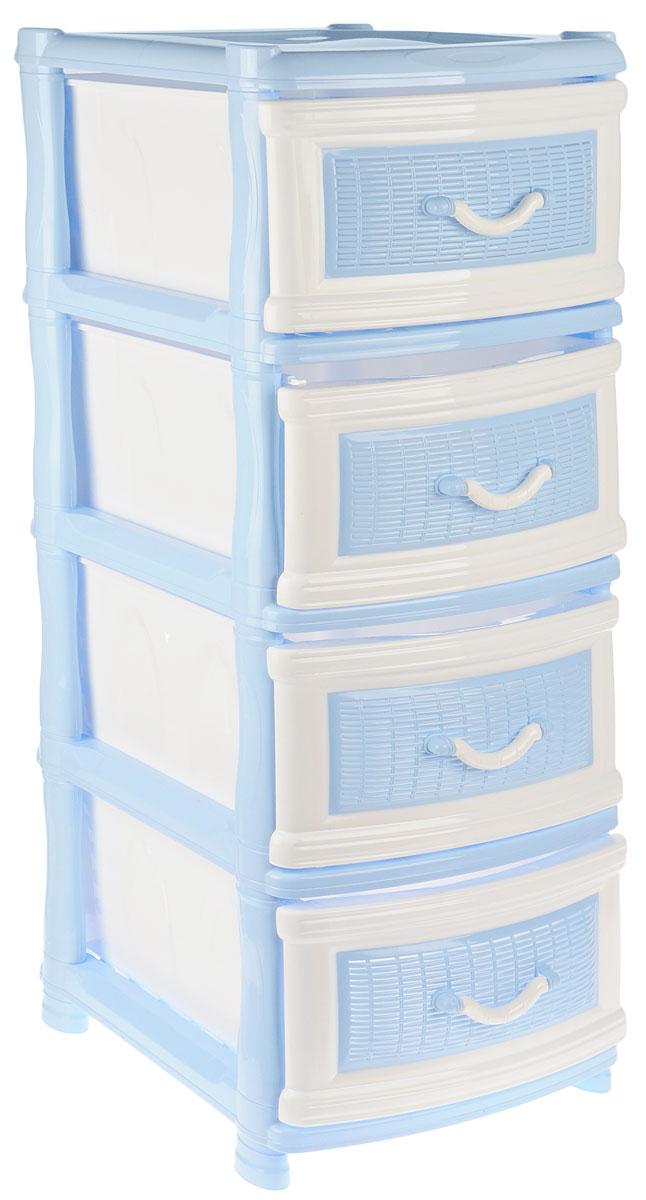Комод Idea «Куба», цвет: голубой, белый, 50,5 х 40,5 х 96 см  мини тумбочка купить