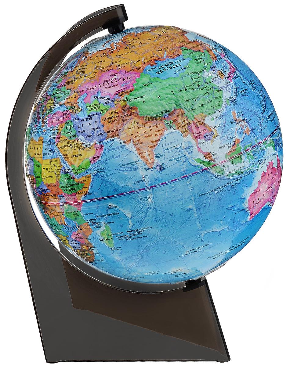 Глобусный мир Глобус с политической картой, рельефный, диаметр 21 см, на подставке10279Глобус рельефный с политической картой мира выполнен в высоком качестве, с четким и ярким изображением. Он даст представление о политическом устройстве мира. На нем отображены линии картографической сетки, показаны границы государств и демаркационные линии, столицы и крупные населенные пункты, линия перемены дат. Глобус легко вращается вокруг своей оси. Подставка черного цвета изготовлена из прочного пластика. Глобус является уменьшенной и практически не искаженной моделью Земли и предназначен для использования в качестве наглядного картографического пособия, а также для украшения интерьера квартир, кабинетов и офисов. Красочность, повышенная наглядность визуального восприятия взаимосвязей, отображенных на глобусе объектов и явлений, в сочетании с простотой выполнения по нему различных измерений делают глобус доступным широкому кругу потребителей для получения разнообразной познавательной, научной и справочной информации о Земле. Масштаб: 1:60000000.