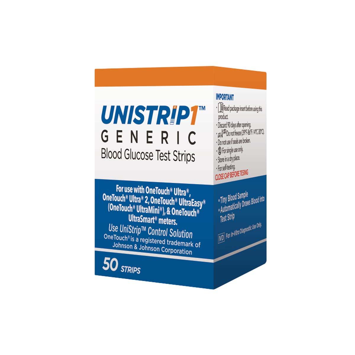 Тест-полоски Unistrip1 к системе контроля уровня глюкозы в крови, 50 шт1638Тест-полоски UNISTRIP1 являются дженериками оригинальных полосок ONE TOUCH. ONE TOUCH является зарегистрированной торговой маркой корпорации Johnson&Johnson. Тест-полоски UNISTRIP1 работают на 49 коде со следующими моделями глюкометров: ONE TOUCH ULTRA, ONE TOUCH ULTRA EASY (One Touch Mini, One Touch UltraSmart). Тест-полоски UNISTRIP1 предназначены для самоконтроля больных сахарным диабетом в домашних условиях и для медицинских работников в клинической практике для контроля концентрации глюкозы в цельной капиллярной крови. Для анализа in-vitro. Не использовать для диагностики сахарного диабета или проверки уровня глюкозы у новорожденных. Тест-полоски UNISTRIP1 имеют код калибровки 49, который напечатан на упаковке и должен соответствовать коду калибровки глюкометра. Не забудьте перевести ваш глюкометр One Touch на 49 КОД. - Тест-полоски UNISTRIP 1 зарегистрированы в России, США и странах Европы. - Цена упаковки UNISTRIP1 (50шт) значительно ниже (в два раза) цены оригинальных...