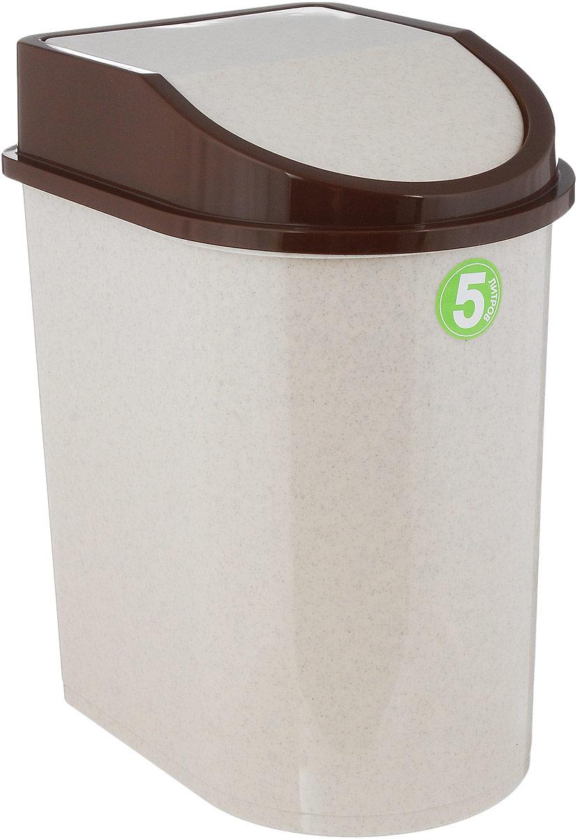 Контейнер для мусора Idea, цвет: бежевый, коричневый, 5 лМ 2480Мусорный контейнер Idea, выполненный из прочного полипропилена (пластика), не боится ударов и долгих лет использования. Изделие оснащено плавающей крышкой, с помощью которой его легко использовать. Крышка плотно прилегает, предотвращая распространение запаха. Вы можете использовать такой контейнер для выбрасывания разных пищевых и непищевых отходов. Контейнер может пригодиться также в ванной комнате или у туалетного столика.
