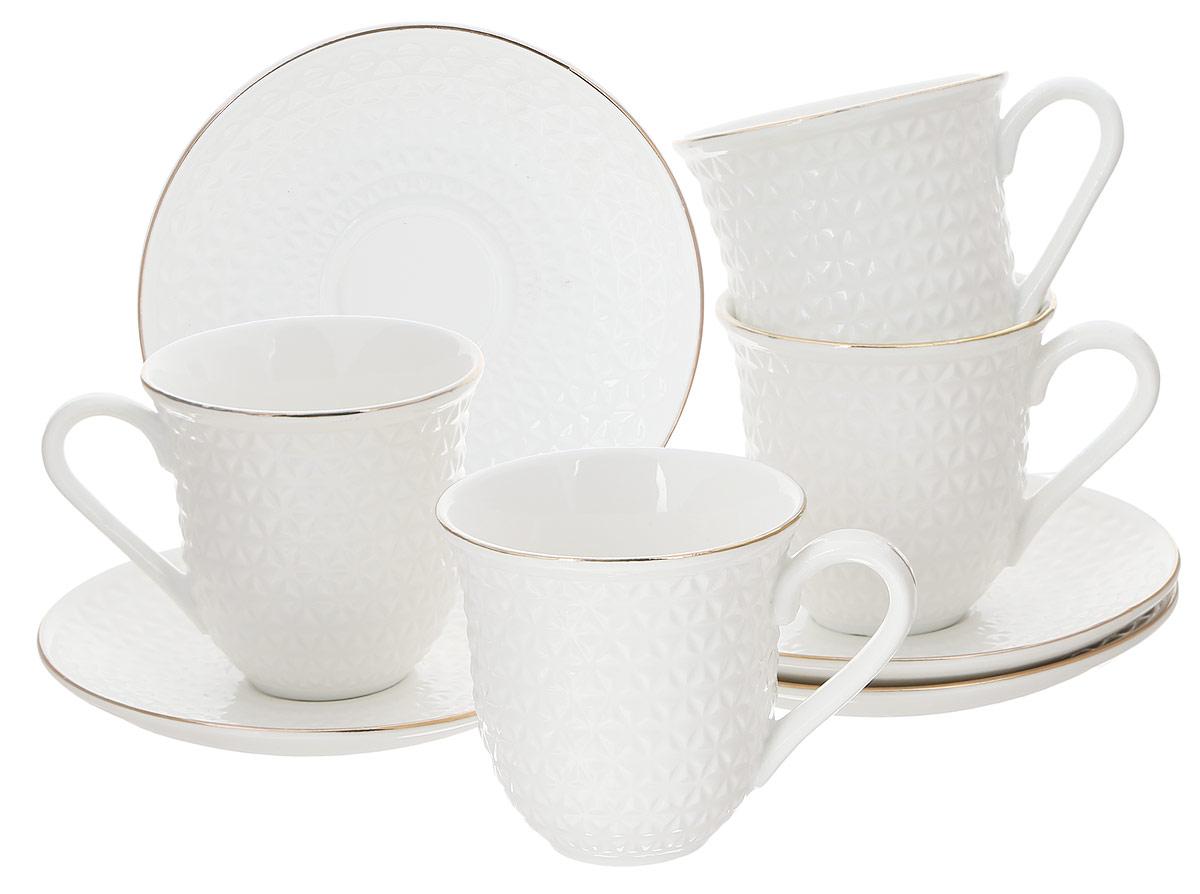 Набор чайный Loraine, 8 предметов. 2577825778Чайный набор Loraine состоит из 4 чашек и 4 блюдец, выполненных из высококачественного костяного фарфора. Изделия прекрасно дополнят сервировку стола к чаепитию. Благодаря изысканному дизайну и качеству исполнения такой набор станет замечательным подарком для ваших друзей и близких. Набор упакован в подарочную коробку, задрапированную белой атласной тканью. Объем чашки: 240 мл. Диаметр чашки по верхнему краю: 8,2 см. Высота чашки: 8,5 см. Диаметр блюдца: 14,4 см. Высота блюдца: 2 см.