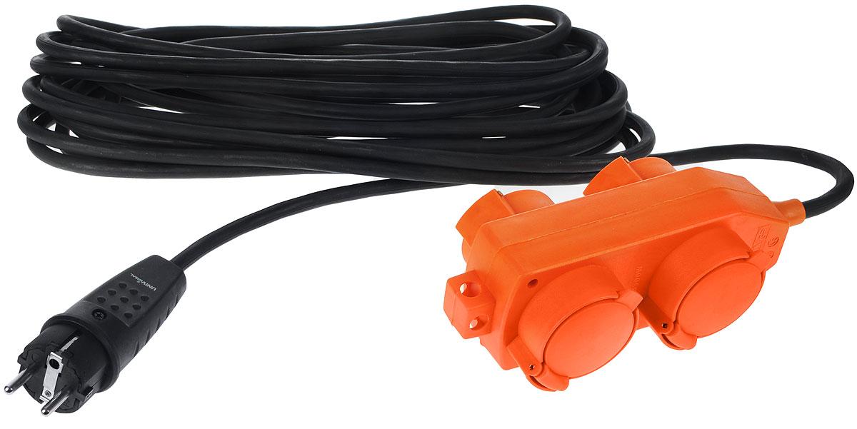 Удлинитель силовой UNIVersal влагозащищенный, 10 м, 4 розетки. 963413183289Силовой удлинитель с заземлением UNIVersal рассчитан на подключение к розетке от одного до четырех электроприборов. Незаменим при строительных и ремонтных работах, когда приборы, требующие электропитание, расположены на удаленном расстояние от розетки до 10 метров. Можно использовать как дома, так и в гараже, на приусадебных участках. Срок службы данного удлинителя долог. Это обеспечивается за счет ряда факторов. Во-первых, есть двойная изоляция провода, защищающая его от механических повреждений. Во-вторых, контакты вилок изготовлены из латуни и покрыты слоем никеля, что не позволяет им долгое время окисляться под воздействием внешней среды. Обеспечивается надежное электрическое соединение с контактами розеток. Слой каучука, покрывающий розетку, повышает прочность изделия и защищает ее от разрушения при ударах о твердые предметы, а его диэлектрические свойства повышают безопасность работы. Характеристики: Материал: пластик, ПВХ, металл. Длина провода: 10 м. Количество...