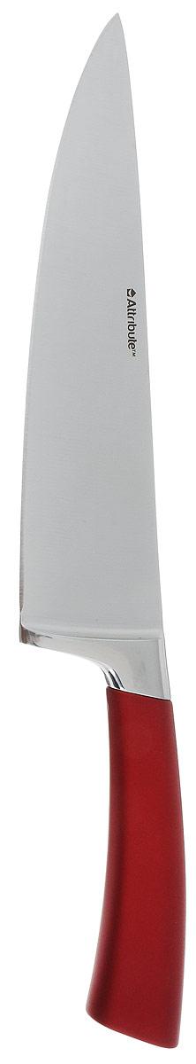 Нож поварской Attribute Knife Tango, цвет: красный, стальной, длина лезвия 19,5 смAKT620Нож поварской Attribute Knife Tango изготовлен из первоклассной нержавеющей стали и предназначен для нарезки овощей, фруктов, рыбы и мяса без костей. Лезвие сделано из высококачественной хромо-молибденово- ванадиевой стали из Германии. Технология холодной закалки обеспечивает долгую заточку и повышенную устойчивость к коррозии. Такой нож станет прекрасным дополнением к коллекции ваших кухонных аксессуаров и не займет много места при хранении. Общая длина ножа: 33 см.