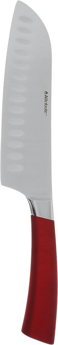 Нож сантоку Attribute Knife Tango, цвет: красный, стальной, длина лезвия 16,3 смAKT218Нож сантоку Attribute Knife Tango изготовлен из первоклассной нержавеющей стали и предназначен для нарезки рыбы, мяса и других жилистых продуктов, также идеально годится для измельчения овощей и фруктов на рагу, суп, салат или другие закуски. Лезвие сделано из высококачественной хромо- молибденово-ванадиевой стали из Германии. Технология холодной закалки обеспечивает долгую заточку и повышенную устойчивость к коррозии. Такой нож станет прекрасным дополнением к коллекции ваших кухонных аксессуаров и не займет много места при хранении. Общая длина ножа: 31 см.