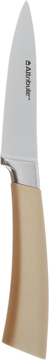 Нож для чистки овощей и фруктов Attribute Knife Tango, цвет: золотой, стальной, длина лезвия 9 смAKT209Нож Attribute Knife Tango изготовлен из первоклассной нержавеющей стали и предназначен для чистки овощей и фруктов. Лезвие сделано из высококачественной хромо- молибденово-ванадиевой стали из Германии. Технология холодной закалки обеспечивает долгую заточку и повышенную устойчивость к коррозии. Такой нож станет прекрасным дополнением к коллекции ваших кухонных аксессуаров и не займет много места при хранении. Общая длина ножа: 19,5 см.