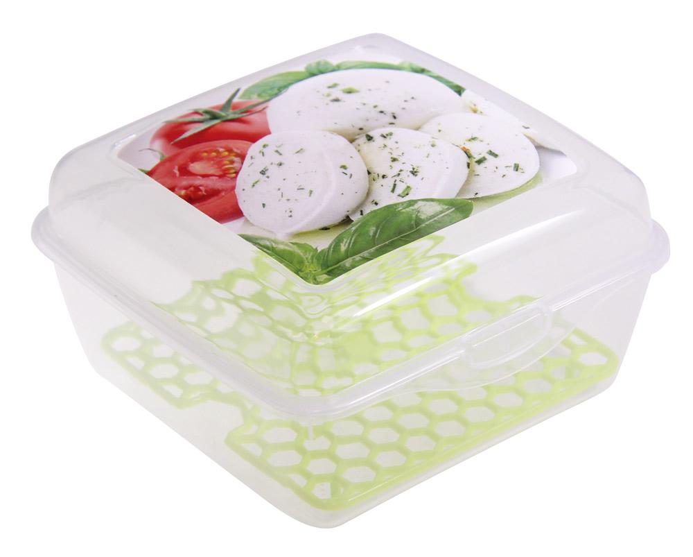 Емкость для продуктов Idea Моцарелла со вставкой, цвет: прозрачный, 14 х 14 х 8 смМ 1459