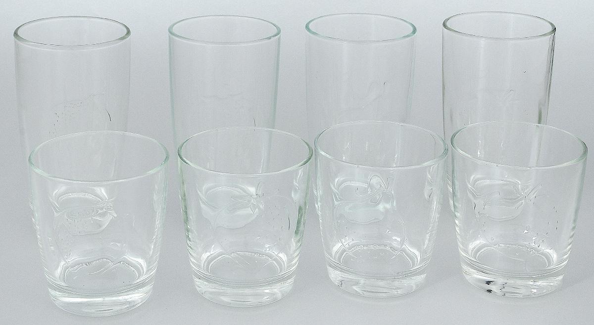 Набор стаканов Luminarc Фрути энерджи, 8 штL1656Набор Luminarc Фрути энерджи состоит из 4 высоких и 4 низких стаканов, выполненных из высококачественного стекла. Изделия подходят для воды, сока, виски, водки и других напитков. Такой набор станет прекрасным дополнением сервировки стола, подойдет для ежедневного использования и для торжественных случаев. Можно мыть в посудомоечной машине. Объем стаканов: 250; 300 мл. Диаметр стакана: 7; 7,5 см. Высота стакана: 13,5: 8,5 см.