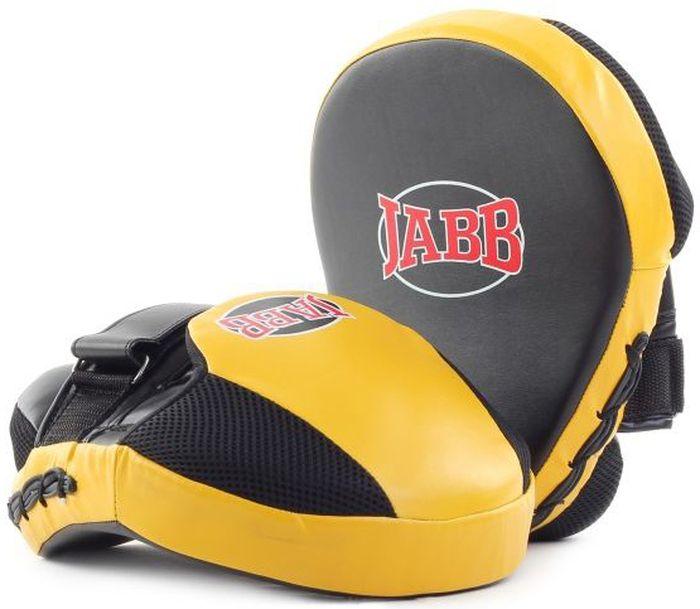 Лапа боксерская Jabb JE-2194, цвет: черный, желтый, 2 шт311055Застежка: Velcro для фиксации на руке Материал: синтетическая кожа, полиуретан Наполнитель: 4-х слойная синтетическая пена для гашения силы удара Рекомендованы: для начинающих спортсменов