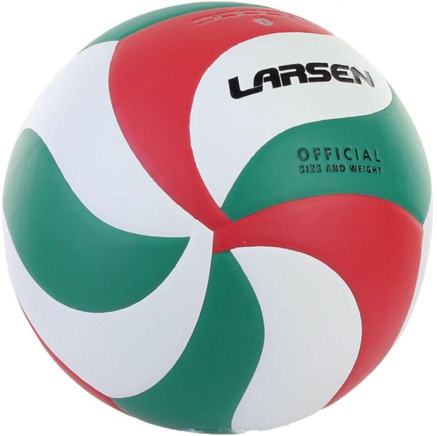 Мяч волейбольный Larsen VB-ECE-5000G324214Клееные швы: + Камера: резина, 60-65 г Размер: 5 Количество панелей: 18 Окружность: 68-69 см Особенности: специальная обработка поверхности мяча для лучшего сцепления Материал: полиуретан Рекомендации: для игры в помещении и проведения тренировок Вес: 250 – 280 г