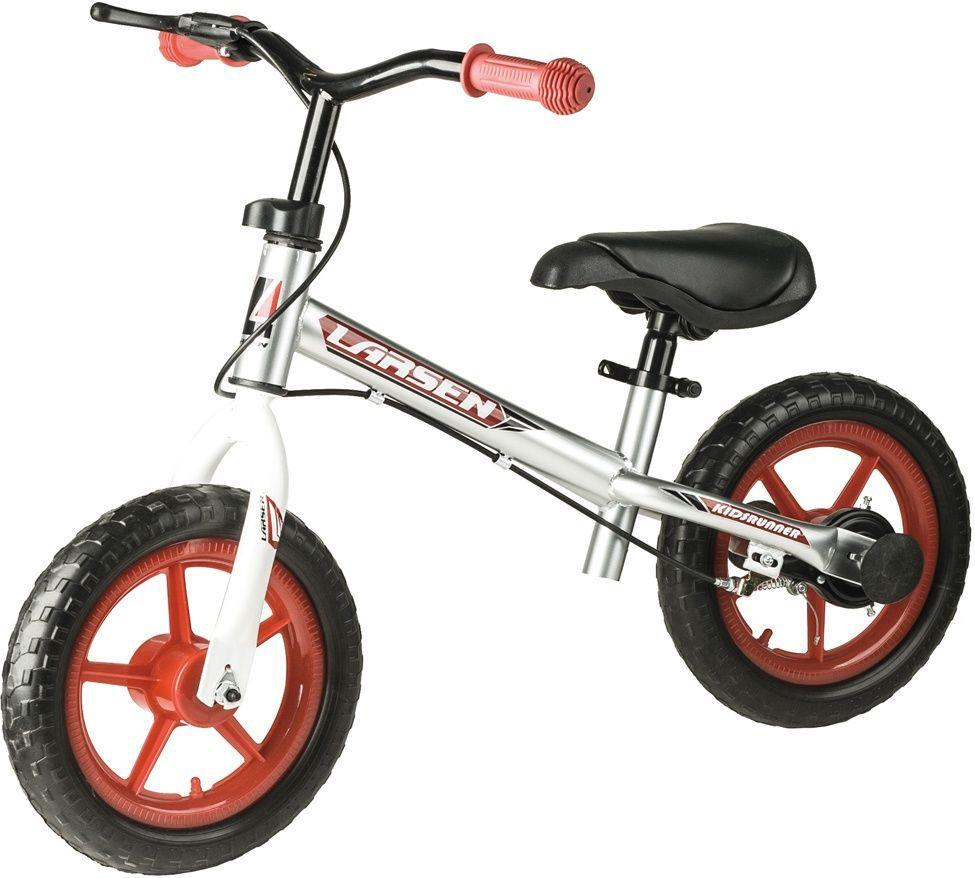 Беговел Larsen GS-003-TR02D, цвет: серебристый337718Материал колес: полипропилен, EVA Максимальная масса пользователя: 20 кг Рама: углеродистая сталь Вилка: углеродистая сталь Размер колес: 12 Руль: полипропилен Тормоза: втулочные