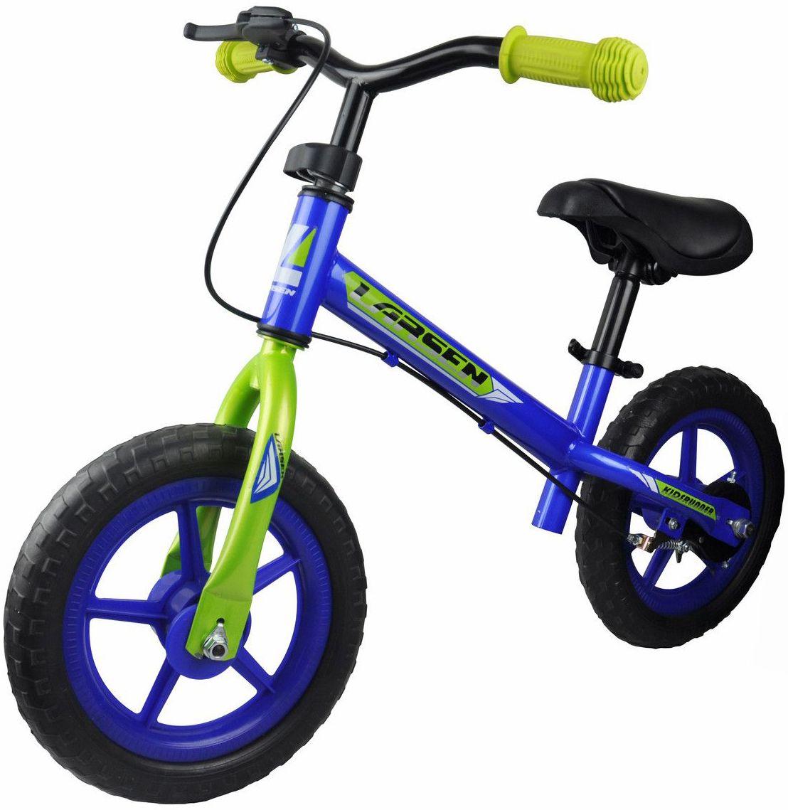 Беговел Larsen GS-003-TR02D, цвет: синий, салатовый337719Материал колес: полипропилен, EVA Максимальная масса пользователя: 20 кг Рама: углеродистая сталь Вилка: углеродистая сталь Размер колес: 12 Руль: полипропилен Тормоза: втулочные