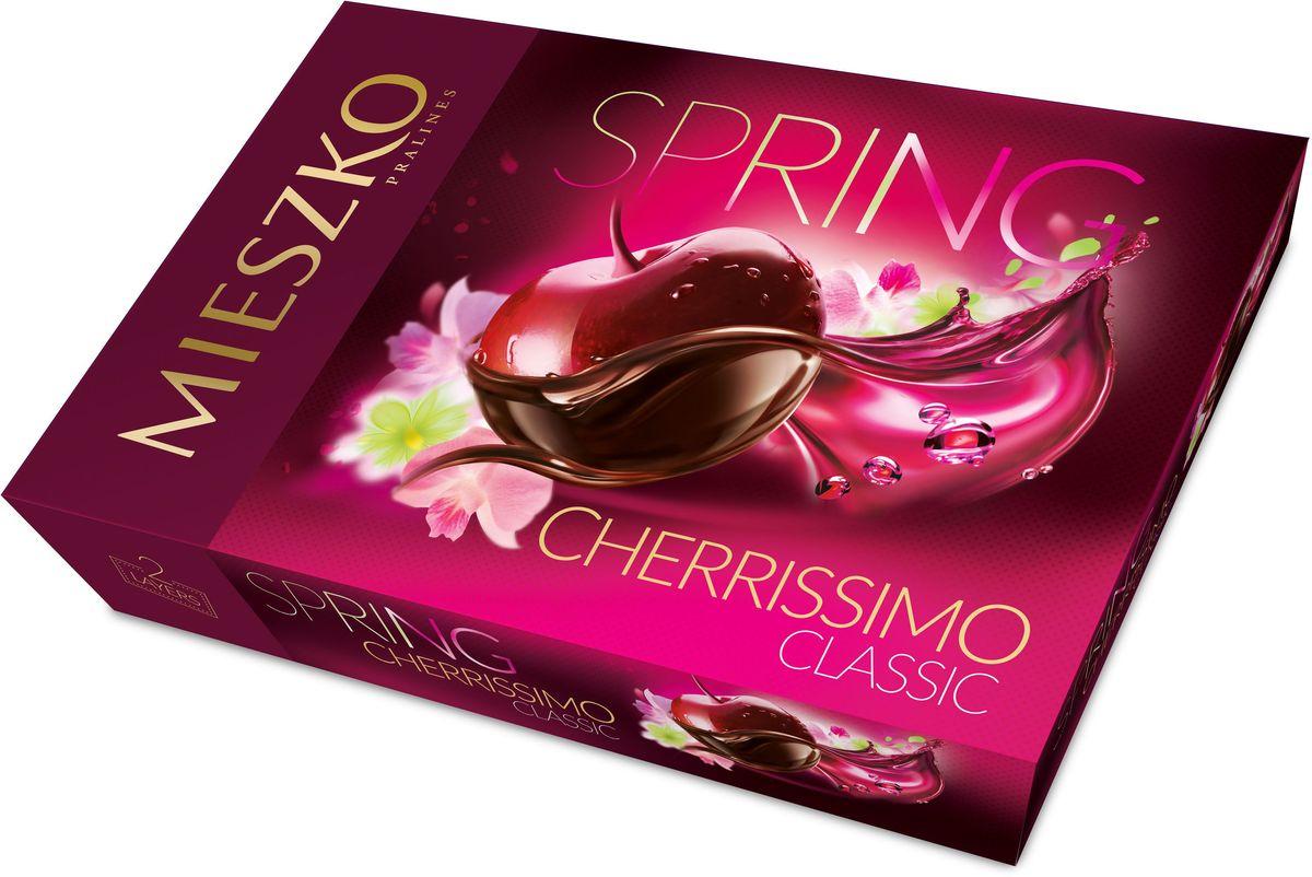 Mieszko Черрисимо набор шоколадных конфет, 310 г5900353615928Черрисимо - набор шоколадных конфет с начинкой. Каждая конфетка изготовлена из натурального настоящего шоколада с начинкой из вишни в ликере. Удобная и красочная упаковка делает эти конфеты не только прекрасным лакомством, но и отличным подарком для своих близких.