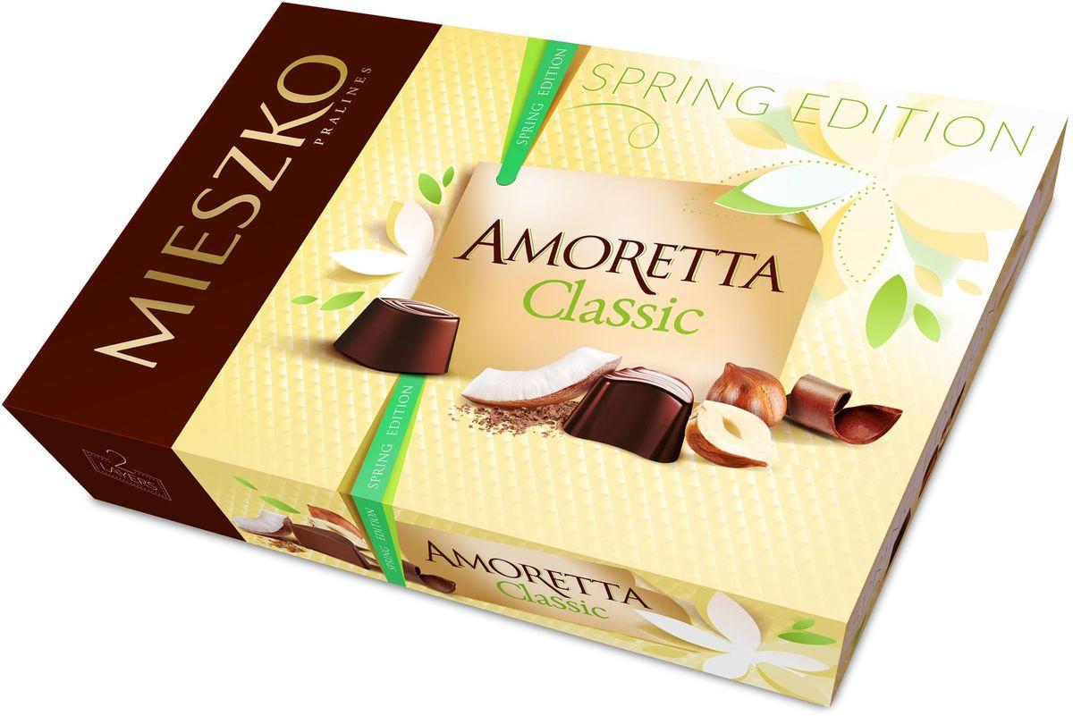 Mieszko Амаретта набор шоколадных конфет, 325 г5900353643792Шоколадные конфеты Аморетта классик - это ассорти изысканных шоколадных конфет из качественного шоколада с различными благородными начинками. Интенсивные начинки в каждой шоколадной конфете Амортетта классик непременно придутся по вкусу настоящим ценителям качественного шоколада. Каждая конфета Аморетта классик - само наслаждение! Благородная упаковка делает эти конфеты не только прекрасным лакомством, но и отличным подарком для своих близких.