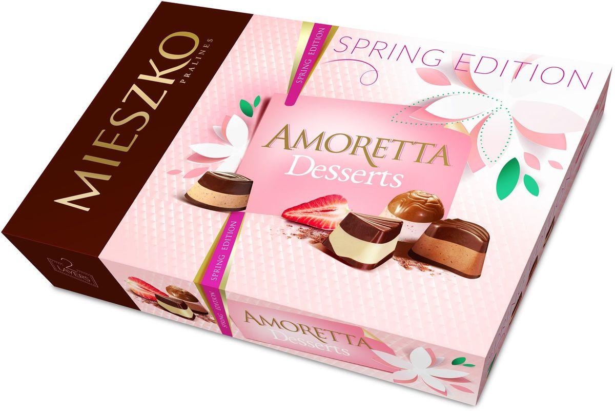 Mieszko Амаретта десерт набор шоколадных конфет, 324 г5900353645482Шоколадные конфеты Аморетта классик - это ассорти изысканных шоколадных конфет из качественного шоколада с различными благородными начинками. Интенсивные начинки в каждой шоколадной конфете Амортетта классик непременно придутся по вкусу настоящим ценителям качественного шоколада. Каждая конфета Аморетта классик - само наслаждение! Благородная упаковка делает эти конфеты не только прекрасным лакомством, но и отличным подарком для своих близких.
