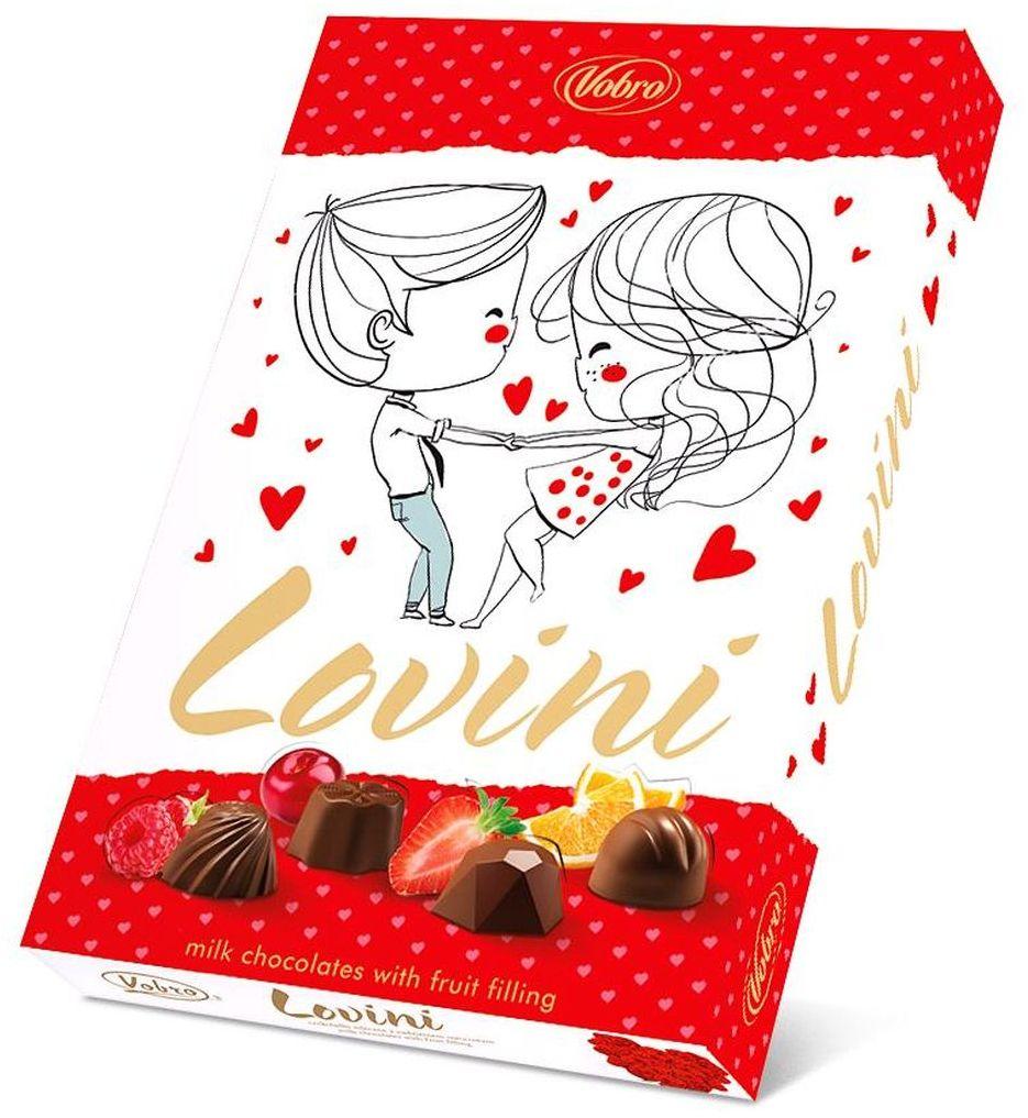 Vobro Lovini Ловини набор шоколадных конфет, 170 г5901177152903Шоколадные конфеты Lovini - это ассорти восхитительных шоколадных конфет из качественного шоколада с различными начинками. Интенсивные фруктовые начинки в каждой пралине Lovini непременно поднимут настроение! К тому же, молочный шоколад… Само наслаждение! В упаковке вы найдете 4 разных вида: клубничный, апельсиновый, малиновый и вишневый. Удобная и красочная упаковка делает эти конфеты не только прекрасным лакомством, но и отличным подарком для своих близких.