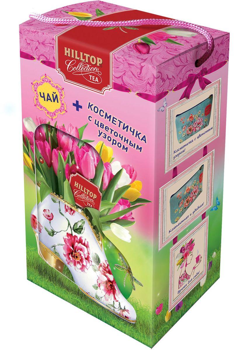 Hilltop Набор Яркие тюльпаны черный листовой чай Подарок Цейлона, 80 г + косметичка4607099308022Чай Подарок Цейлона - крупнолистовой цейлонский черный чай с глубоким, насыщенным вкусом. В подарок косметичка.