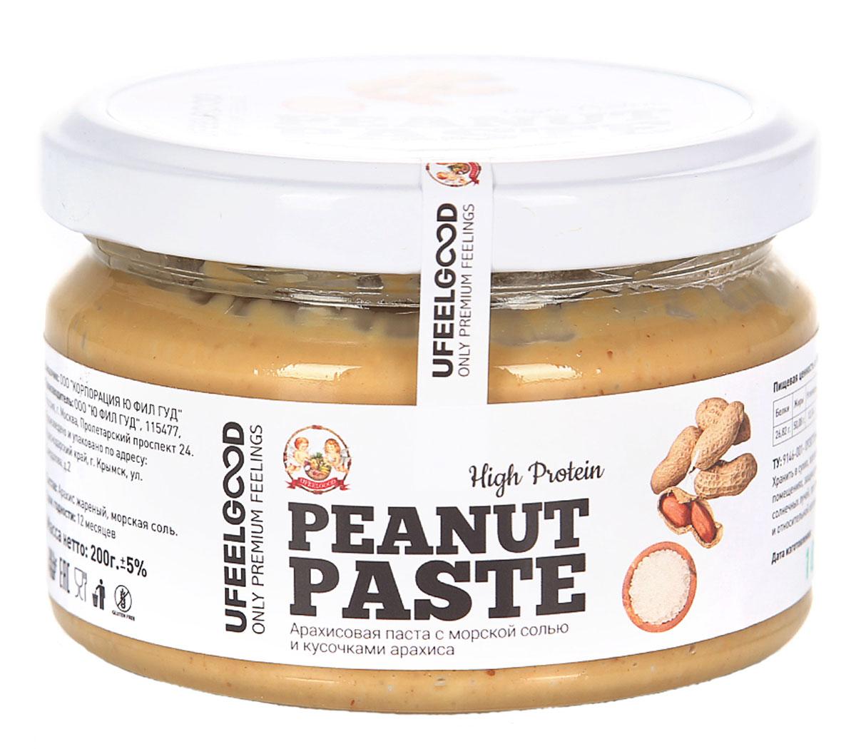 UFEELGOOD арахисовая паста с морской солью и кусочками арахиса, 200 г