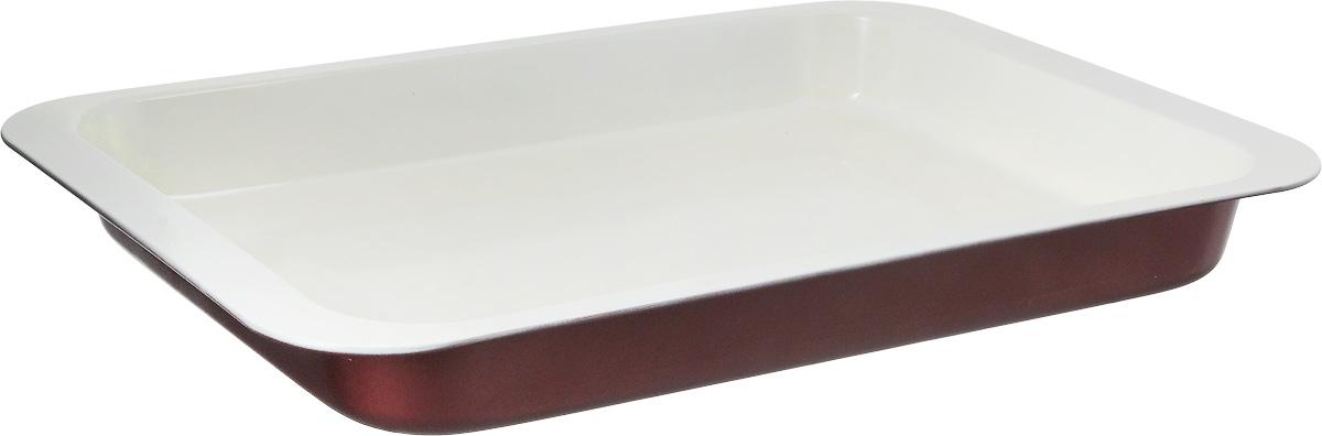 Противень Tescoma EcoCeramo, прямоугольный, с антипригарным покрытием, 42 x 28,5 х 4,5 см220426Противень Tescoma EcoCeramo, выполненный из высококачественной углеродистой с антипригарным покрытием, идеально подойдет для приготовления домашней выпечки. Покрытие изготовлено на основе керамических частиц без использования тяжелых металлов. Посуда с керамическим покрытием легко моется, устойчива к возникновению царапин, покрытие хорошо скользит. Керамическое покрытие не вступает в реакцию с щелочами и пищевыми кислотами, выдерживает высокие температуры, обладает хорошими антипригарными свойствами. Подходит для использования во всех типах духовых шкафов. Размер противня (с учетом ручек): 42 x 28,5 х 4,5 см. Внутренний размер противня: 37 х 26,5 х 4 см.