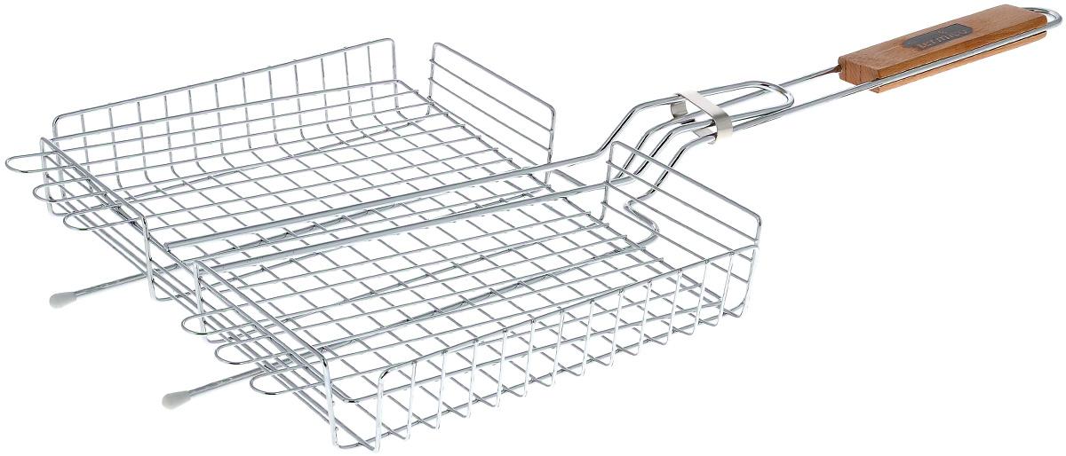 Решетка-гриль Termico, 31 х 24 х 5 см120100Решетка-гриль Termico предназначена для приготовления мяса, шашлыков, окороков, колбасок, сосисок, рыбы, овощей и прочих продуктов на открытой шашлычнице, в камине, на костре. Решетка изготовлена из высококачественной стали с хромированным покрытием, что облегчает процесс мытья решетки. Деревянная ручка облегчает эксплуатацию изделия и исключает возможность получения ожога. В производстве используются только экологически чистые материалы. Приготовления продуктов с помощью решетки не требует использования жиров и масел, поэтому в продуктах сохраняются все полезные компоненты и не образуются вредные для организма вещества. Размер решетки: 31 х 24 х 5 см. Общая длина решетки (с ручкой): 70 см.