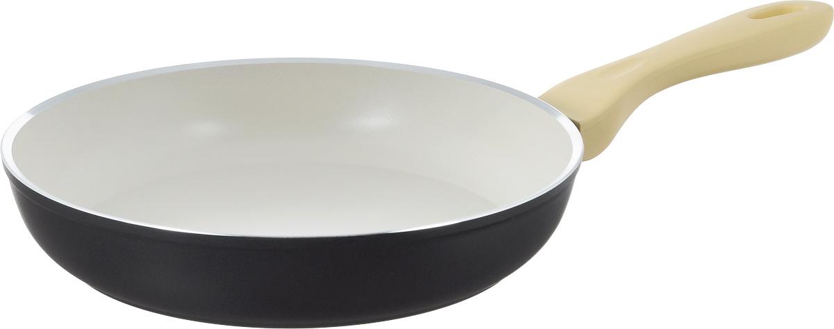 Сковорода Attribute Avorio, с керамическим покрытием. Диаметр 26 смAFA026Сковорода Attribute Avorio изготовлена из алюминия с высококачественным керамическим покрытием. Керамика не содержит вредных примесей ПФОК, что способствует здоровому и экологичному приготовлению пищи. Кроме того, с таким покрытием пища не пригорает и не прилипает к стенкам, поэтому можно готовить с минимальным добавлением масла и жиров. Гладкая, идеально ровная поверхность сковороды легко чистится. Эргономичная ручка специального дизайна выполнена из пластика с покрытием soft-touch, удобна в эксплуатации. Сковорода подходит для использования на всех типах плит, кроме индукционных. Также изделие можно мыть в посудомоечной машине. Высота стенки: 5 см. Длина ручки: 20 см.