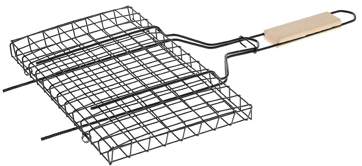 Решетка-гриль Masterline, универсальная, 31 х 21 х 1,8 см101312Решетка-гриль Masterline предназначена для приготовления мяса, шашлыков, окороков, колбасок, сосисок, рыбы, овощей и прочих продуктов на открытой шашлычнице, в камине, на костре. Решетка изготовлена из высококачественной стали с хромированным покрытием, что облегчает процесс мытья решетки. Деревянная ручка облегчает эксплуатацию изделия и исключает возможность получения ожога. В производстве используются только экологически чистые материалы. Приготовления продуктов с помощью решетки не требует использования жиров и масел, поэтому в продуктах сохраняются все полезные компоненты и не образуются вредные для организма вещества. Размер решетки: 31 х 21 х 1,8 см. Общая длина решетки (с ручкой): 59 см.