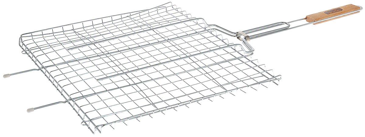Решетка-гриль Termico, многофункциональная, 46 x 38 x 2 см120112Решетка-гриль Termico предназначена для приготовления мяса, шашлыков, окороков, колбасок, сосисок, рыбы, овощей и прочих продуктов на открытой шашлычнице, в камине, на костре. Решетка изготовлена из высококачественной стали с хромированным покрытием, что облегчает процесс мытья решетки. Деревянная ручка облегчает эксплуатацию изделия и исключает возможность получения ожога. В производстве используются только экологически чистые материалы. Приготовления продуктов с помощью решетки не требует использования жиров и масел, поэтому в продуктах сохраняются все полезные компоненты и не образуются вредные для организма вещества. Размер решетки: 46 x 38 x 2 см. Общая длина решетки (с ручкой): 85 см.