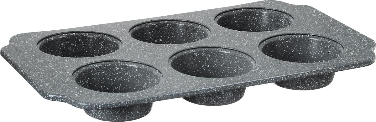 Форма для выпечки мини-кексов Termico Granito, с антипригарным покрытием, 30 х 18 х 2,5 см220440Форма для выпечки Termico Granito изготовлена из металла с высококачественным антипригарным покрытием. С таким покрытием пища не пригорает и не прилипает к стенкам. Форма содержит 6 ячеек в виде небольших кексов. Простая в уходе и долговечная в использовании форма будет верной помощницей в создании ваших кулинарных шедевров. Подходит для всех типов духовых шкафов. Можно мыть в посудомоечной машине. Размер формы: 30 х 18 х 2,5 см. Размер ячейки: 6,7 х 6,7 х 2,5 см.