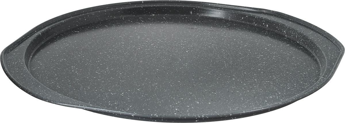 Форма для пиццы Termico Granito, с антипригарным покрытием, 35 х 33 х 1,5 см220439Круглая форма для пиццы Termico Granito изготовлена из углеродистой стали с керамическим антипригарным покрытием. Покрытие экологичное и безопасное для здоровья, оно не содержит примеси PFOA, свинца и кадмия. Благодаря антипригарному покрытию нет необходимости использовать подсолнечное масло. Пища не пригорает и не прилипает к стенкам, легко достается из формы, сохраняя при этом аккуратный внешний вид. Изделие снабжено удобными ручками. Оно прослужит долго и обеспечит легкое и удобное приготовление вашей любимой пиццы. Можно использовать в духовом шкафу при температуре до 250°С. Внутренний диаметр формы: 31 см. Размер формы с учетом ручек: 35 х 33 х 1,5 см.