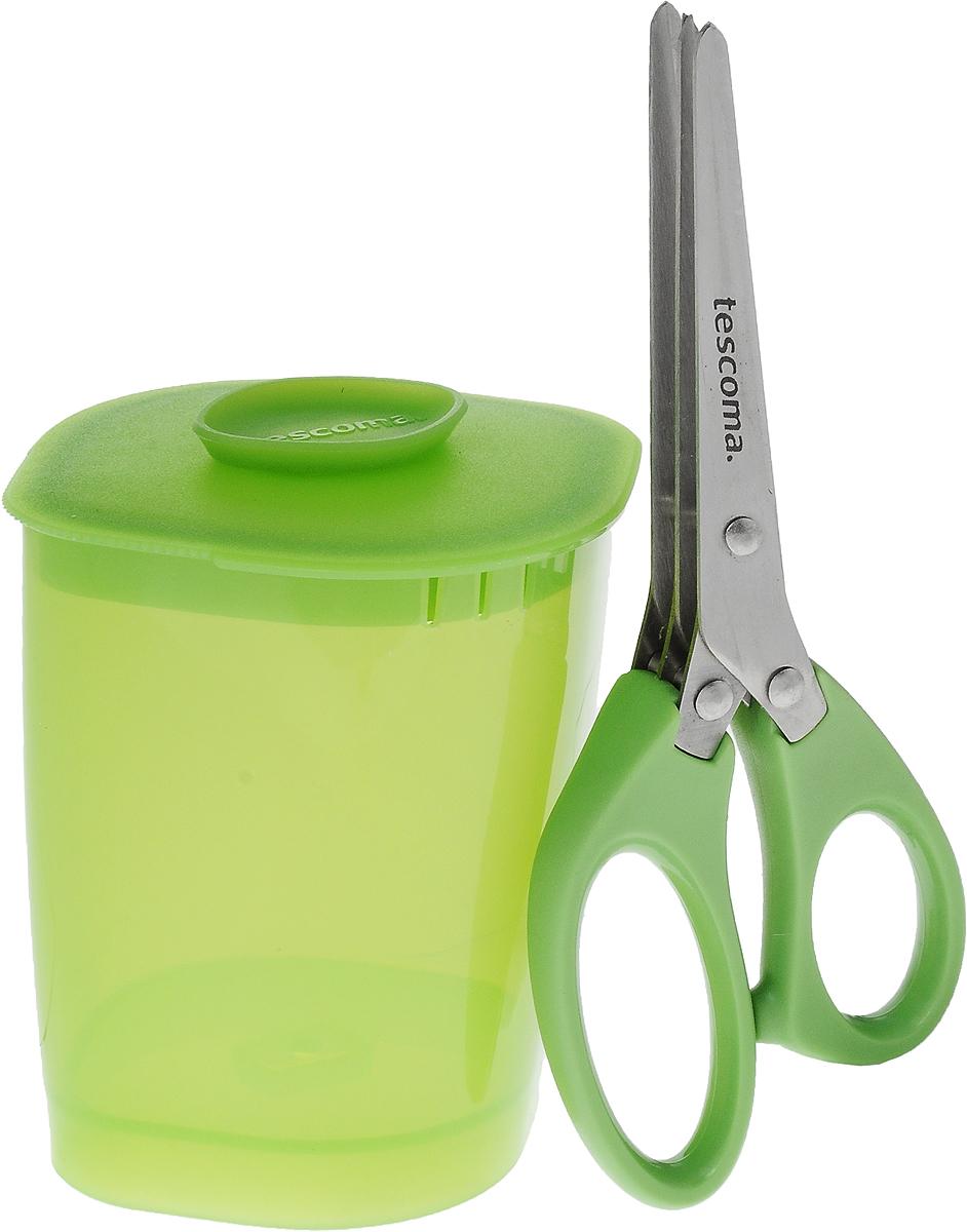 Ножницы для зелени Tescoma Presto, с емкостью, 2 предмета888221Ножницы Tescoma Presto прекрасно подходят для быстрой и легкой мелкой нарезки свежей зелени. Оснащены тремя рядами лезвий. В комплекте входит пластиковый контейнер для нарезки и хранения зелени. Ножницы изготовлены из высококачественной нержавеющей стали и прочного пластика. Такой комплект аксессуаров отлично подходит для быстрой, безопасной и мелкой резки зелени. Предметы можно мыть в посудомоечной машине. Длина ножниц: 16 см. Длина лезвия ножниц: 7,5 см. Размер емкости (с учетом крышки): 9 х 7,5 х 10 см.