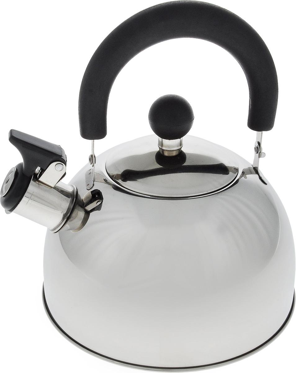 Чайник Termico, со свистком, цвет: серебристый, черный, 1,6 л220407Чайник Termico выполнен из высококачественной нержавеющей стали, что обеспечивает долговечность использования. Внешнее зеркальное покрытие придает изделию изысканный вид. Эргономичная пластиковая ручка делает использование чайника очень удобным и безопасным. Чайник снабжен откидным свистком, который подскажет, когда закипела вода. Не рекомендуется мыть в посудомоечной машине. Пригоден для всех видов плит, кроме индукционных. Высота чайника (без учета крышки и ручки): 10 см. Диаметр отверстия: 8,5 см.