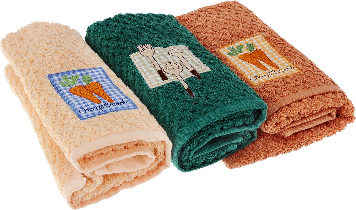 Набор полотенец Bonita Аппликация, цвет: бежевый, зеленый, оранжевый, 40 х 60 см, 3 шт2001311957_бежевый, зеленый, оранжевыйНабор из трех полотенец Bonita Аппликация, изготовленных из натурального хлопка, идеально дополнит интерьер вашей кухни и создаст атмосферу уюта и комфорта. Каждое полотенце оформлено вышивкой. Изделия выполнены из натурального материала, поэтому являются экологически чистыми. Высочайшее качество материала гарантирует безопасность не только взрослых, но и самых маленьких членов семьи. Современный декоративный текстиль для дома должен быть экологически чистым продуктом и отличаться ярким и современным дизайном. Кроме того набор упакован в красивую коробку и может послужить отличным подарком.