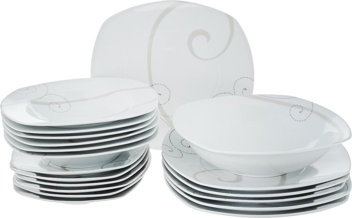 Набор столовой посуды Domenik Caress Modern, 19 предметовDM9112Набор Domenik Caress Modern, изготовленный из высококачественного фарфора, состоит из 6 суповых тарелок, 6 обеденных тарелок, 6 десертных тарелок и салатника. Изделия декорированы узором. Такой сервиз придется по вкусу любителям классики, и тем, кто предпочитает утонченность и изысканность. Набор эффектно украсит стол к обеду, а также прекрасно подойдет для торжественных случаев. Можно мыть в посудомоечной машине и использовать в микроволновой печи. Размер обеденной тарелки (по верхнему краю): 25 х 25 см. Высота обеденной тарелки: 2,4 см. Размер суповой тарелки (по верхнему краю): 21,5 х 21,5 см. Внутренний диаметр суповой тарелки: 15 см. Высота суповой тарелки: 4 см. Размер десертной тарелки (по верхнему краю): 18,5 х 18,5 см. Высота десертной тарелки: 1,8 см. Размер салатника (по верхнему краю): 23 х 23 см. Высота салатника: 6 см.