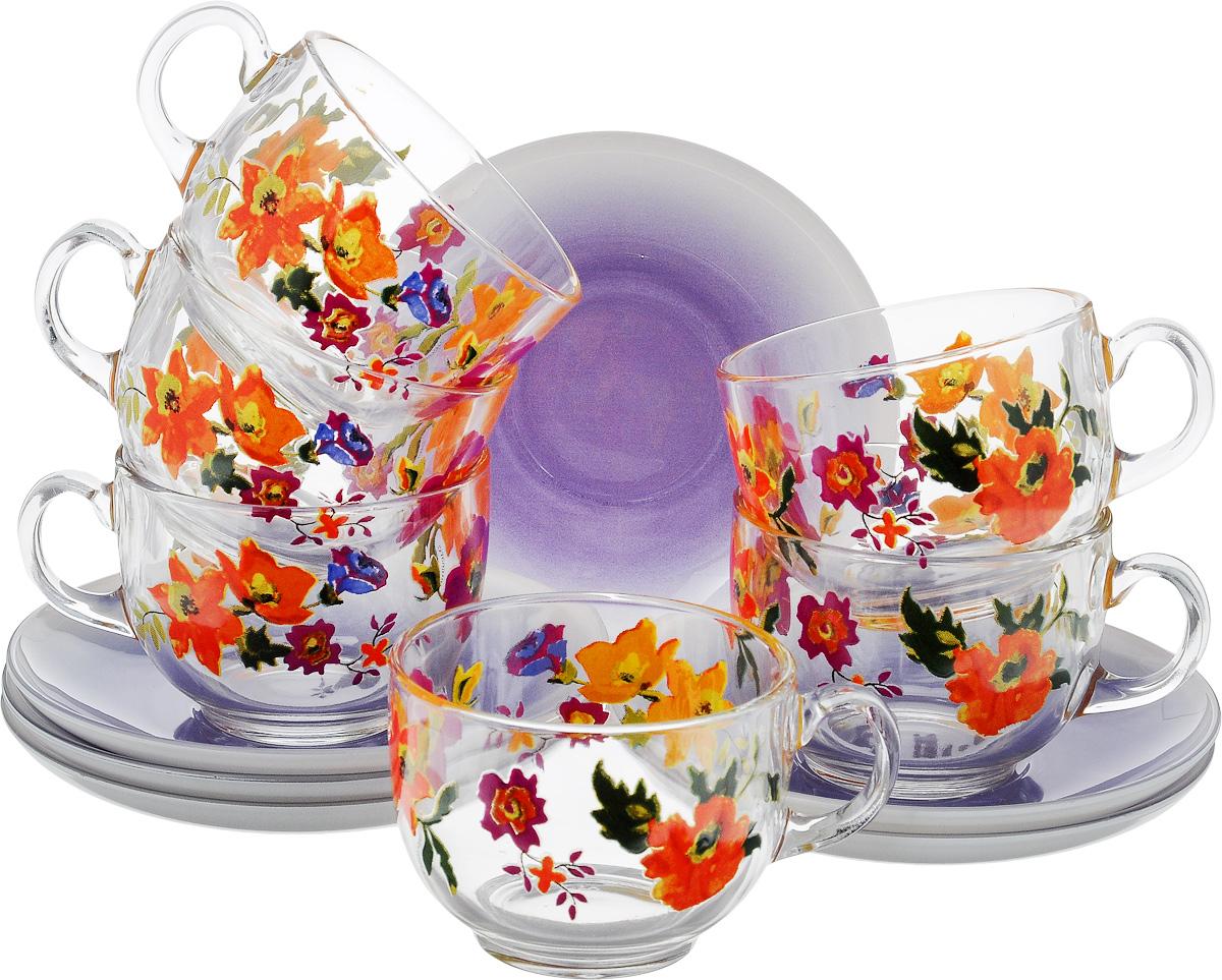 Набор чайный Luminarc Мариса Пурпл, цвет: прозрачный, фиолетовый, оранжевый, 12 предметовJ7607Чайный набор Luminarc Мариса Пурпл состоит из шести чашек и шести блюдец, выполненных из стекла. Изделия оформлены ярким рисунком. Изящный набор эффектно украсит стол к чаепитию и порадует вас функциональностью и ярким дизайном. Можно мыть в посудомоечной машине. Диаметр чашки (по верхнему краю): 8 см. Высота чашки: 6 см. Объем чашки: 220 мл. Диаметр блюдца: 13,5 см. Высота блюдца: 2 см.