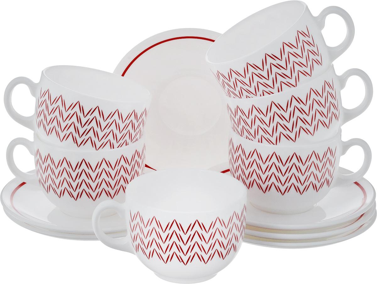 Набор чайный Luminarc Баттуто, цвет: белый, красный, 12 предметовJ7842Чайный набор Luminarc Баттуто состоит из шести чашек и шести блюдец, выполненных из стекла. Изделия оформлены ярким рисунком. Изящный набор эффектно украсит стол к чаепитию и порадует вас функциональностью и ярким дизайном. Можно мыть в посудомоечной машине. Диаметр чашки (по верхнему краю): 8 см. Высота чашки: 6 см. Объем чашки: 220 мл. Диаметр блюдца: 13,5 см. Высота блюдца: 1,5 см.