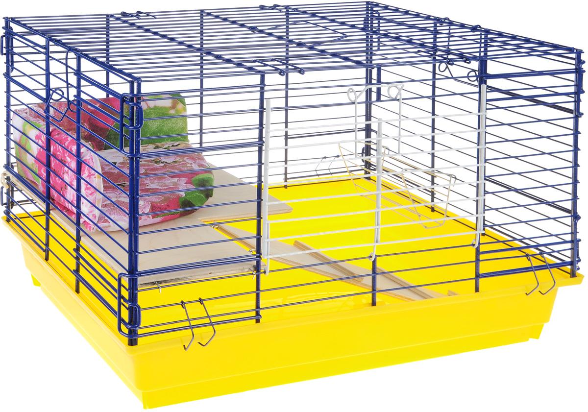 Клетка для кроликов ЗооМарк, 2-этажная, цвет: желтый поддон, синяя решетка, 59 х 39 х 41 см650ЖСКлетка для кроликов ЗооМарк, выполненная из металла и пластика, предназначена для содержания вашего любимца. Клетка имеет прямоугольную форму, очень просторна, оснащена съемным поддоном. Она очень легко собирается и разбирается. Для удобства вашего питомца в клетке предусмотрен мягкий уголок, в котором кролик сможет отдохнуть. Такая клетка станет для вашего питомца уютным домиком и надежным убежищем.
