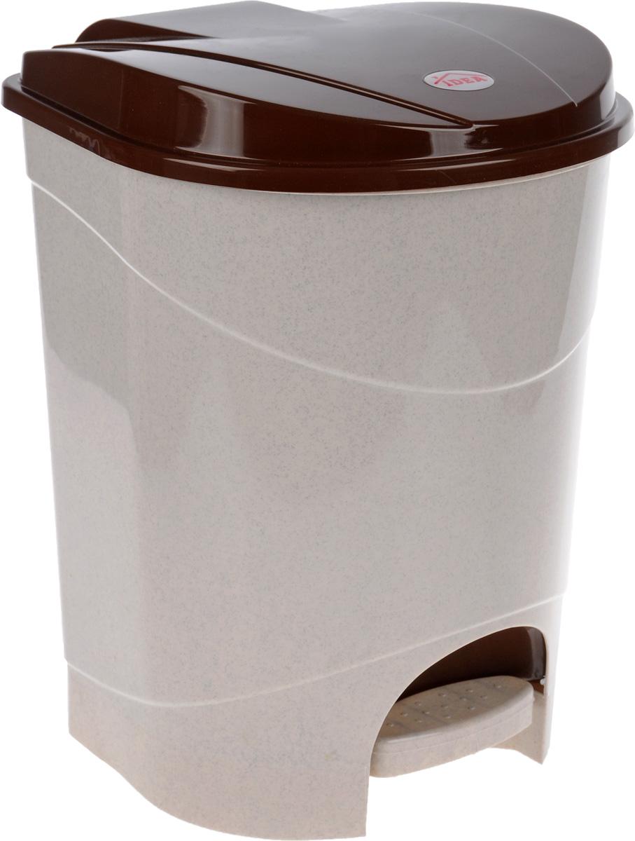 Контейнер для мусора Idea, с педалью, цвет: бежевый, коричневый, 19 лМ 2892Мусорный контейнер Idea, выполненный из прочного полипропилена, оснащен педалью, с помощью которой можно открыть крышку. Закрывается крышка практически бесшумно, плотно прилегает, предотвращая распространение запаха. Внутри пластиковая емкость для мусора, которую при необходимости можно достать из контейнера. Интересный дизайн разнообразит интерьер кухни и сделает его более оригинальным. Размер контейнера: 31 х 31 х 39,5 см.