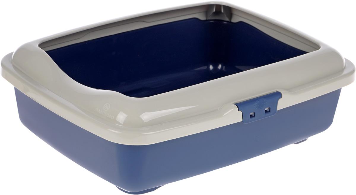 "Туалет для кошек Marchioro ""Goa"", с бортом, цвет: бежевый, синий, 43 х 33 х 14 см"