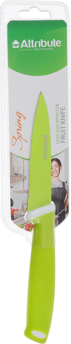 Нож для чистки овощей и фруктов Attribute Knife Spring Green, длина лезвия 9 смAKZ109Нож Attribute Knife Spring Green изготовлен из высококачественной нержавеющей стали. Такой нож отлично подходит для чистки овощей и фруктов. Эргономичная рукоятка ножа выполнена из резиновой смеси. Нож Attribute Knife Spring Green предоставит вам все необходимые возможности в успешном приготовлении пищи. Длина лезвия: 9 см. Общая длина ножа: 21 см.