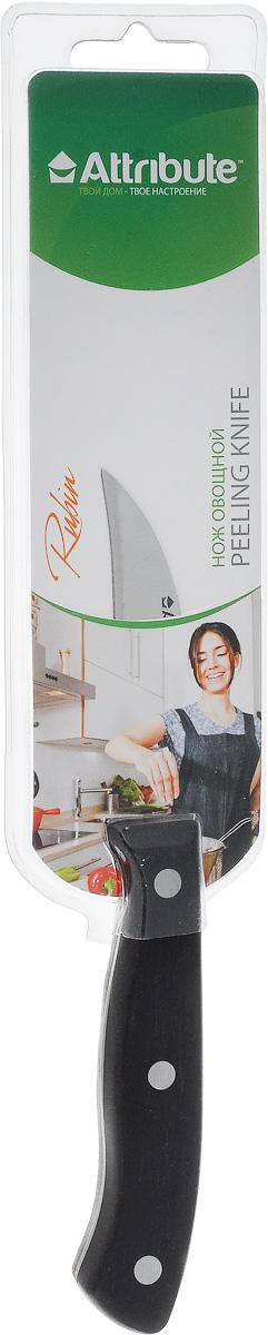 Нож для чистки картофеля Attribute Knife Rubin, длина лезвия 7 смAKR208Нож Attribute Knife Rubin изготовлен из высококачественной нержавеющей стали. Такой нож отлично подходит для чистки картофеля: им легко снимается кожура, выковыриваются глазки, трещины и прочие дефекты. Этим ножом при небольшом навыке можно вырезать декоративные украшения из овощей и фруктов для праздничного стола. Эргономичная рукоятка ножа выполнена из бакелита. Нож Attribute Knife Rubin предоставит вам все необходимые возможности в успешном приготовлении пищи. Длина лезвия: 7 см. Общая длина ножа: 18,5 см.