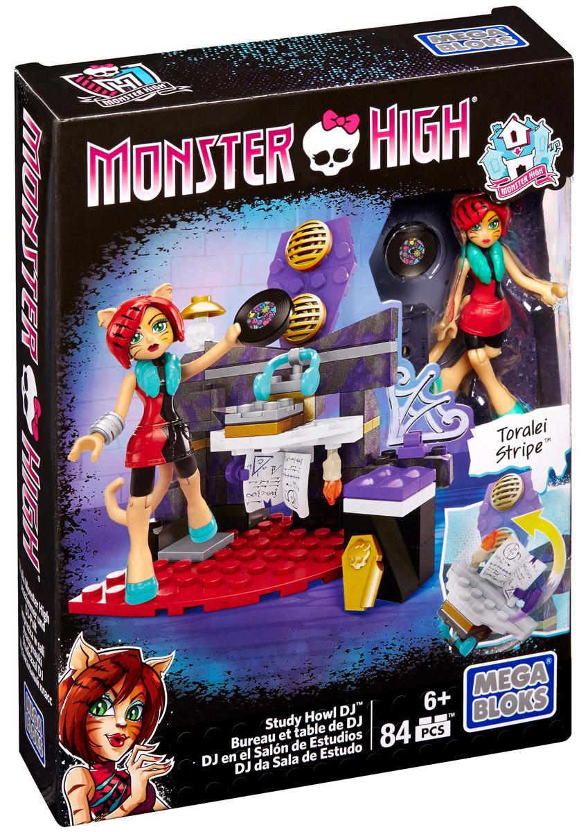 Mega Bloks Monster High Конструктор Study Howl DJCNF79_DPK30Конструктор Study Howl DJ обязательно порадует маленьких поклонниц героинь Monster High. В наборе: фигурка Торалей Страйп с подвижными частями тела, сборная студия звукозаписи и множество аксессуаров. Торалей, дочь кошек-оборотней - олицетворение вредной девочки, отстраняющейся от всех со своей собственной компанией друзей. Она чрезмерно уверена в своих способностях и склонна унижать других монстров. Однако это не значит, что она позволяет другим монстрам обижать других; она часто встает на защиту слабых. Торалей обладает саркастическим чувством юмора. Игрушка выполнена из высококачественного пластика. Игра с конструктором способствует развитию мелкой моторики, воображения, творческого мышления. Набор Study Howl DJ можно соединить с другими наборами Monster High от Mega Bloks и построить свой невероятный мир Monster High!
